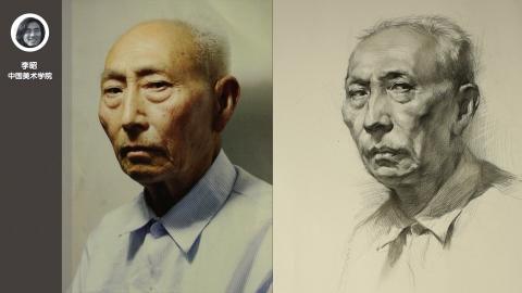 男老年半侧素描头像_李昭
