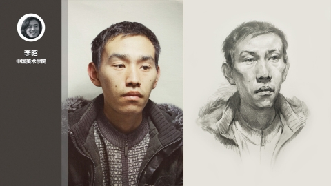 男青年四分之一侧面素描头像_李昭