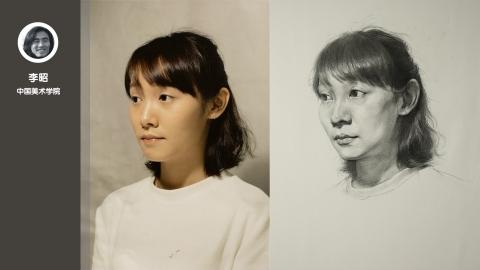 女青年三分之二侧面素描头像_李昭