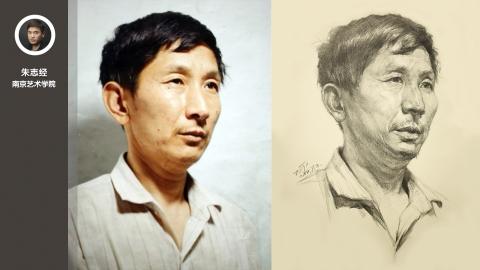 男中年二分之一侧面素描头像_朱志经