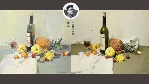 色彩静物_啤酒瓶、红酒杯、水果、菠萝、菊花_朱友