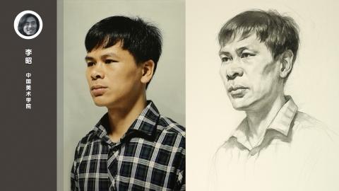 男青年三分之二侧面素描头像_李昭
