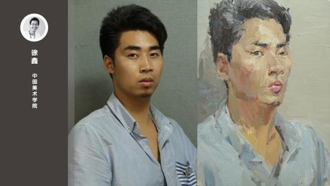 男青年半侧面色彩头像写生_徐鑫