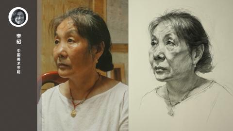 女老年三分之二侧面素描头像_李昭