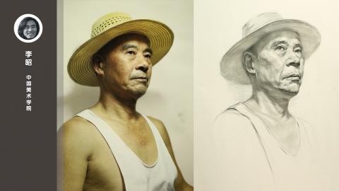 男老年三分之二侧面素描头像_李昭
