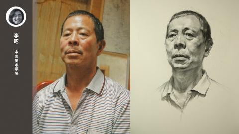 男老年三分之一侧面素描头像_李昭