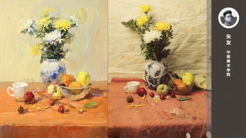 色彩静物_水果、花卉、花瓶_朱友
