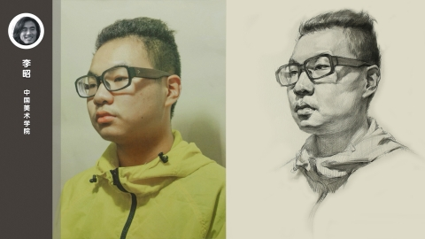 带眼镜男青年三分之二侧面素描头像_李昭