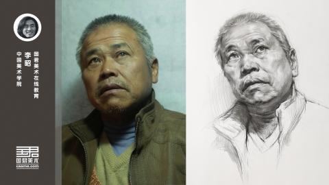 男老年三分之一侧面仰视素描头像_李昭