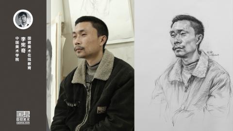 男中年三分之一侧面自然光全因素素描头像_教师培训_李宪奇