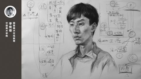 男青年半侧面素描头像结构讲解_李宪奇