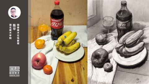 素描静物_水果类_可乐、香蕉、苹果、桔子、高脚杯、盘子_陈平