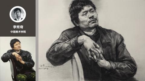 带伤的男中年三分之一侧面半身素描_李宪奇