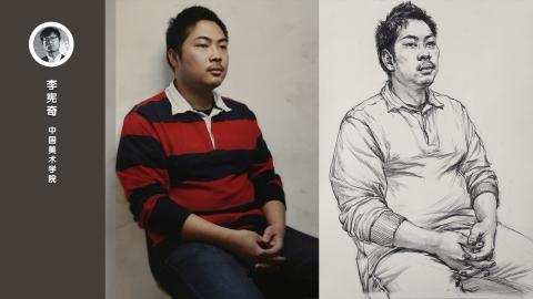 男青年四分之三侧面半身像素描速写_李宪奇