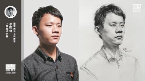男青年二分之一侧面素描头像_教师培训_李宪奇