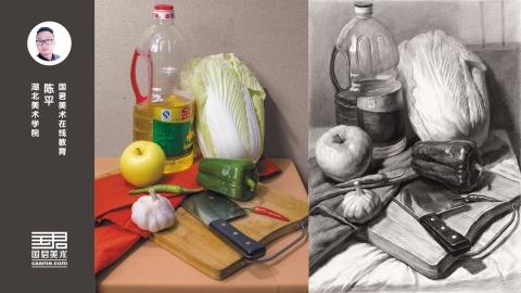 素描静物_蔬菜类_油瓶、大白菜、苹果、青椒、大蒜、刀、砧板_陈平