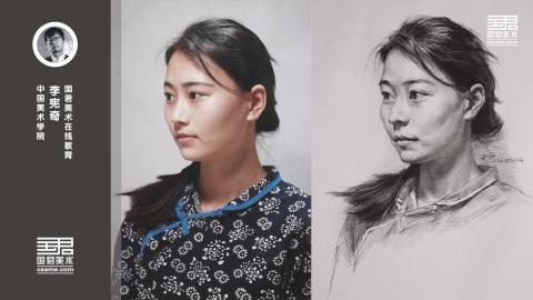 女青年三分之二侧面素描头像_李宪奇