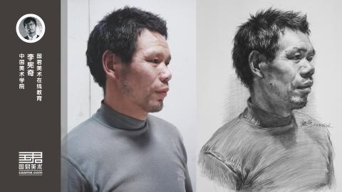 男中年四分之三侧面素描头像_李宪奇