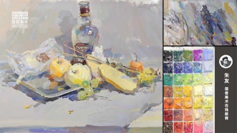 色彩静物_玻璃瓶、不锈钢盘子、面包、水果、花枝、塑料袋_朱友