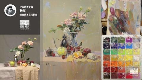 色彩静物_透明玻璃瓶、花卉、不锈钢壶、水果、透明玻璃盆_朱友