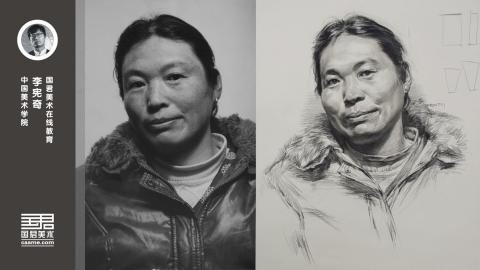 女中年三分之一侧面素描头像_李宪奇