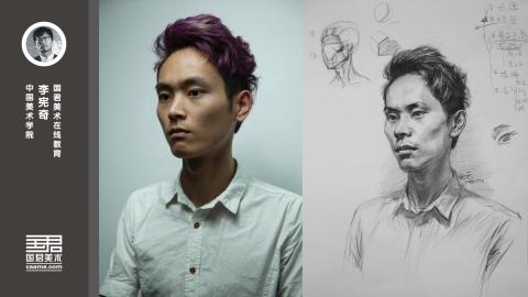 男青年1/2侧面素描头像_李宪奇_暑期教师培训