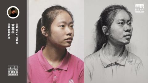 女青年2/3侧面素描头像_雷超群