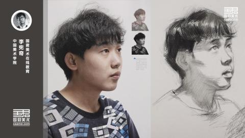 男青年2/3素描头像_基本画面_速写头像_李宪奇_暑期教师培训