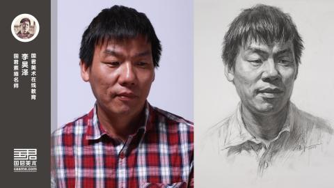 男中年1/4侧面素描头像_李昊泽