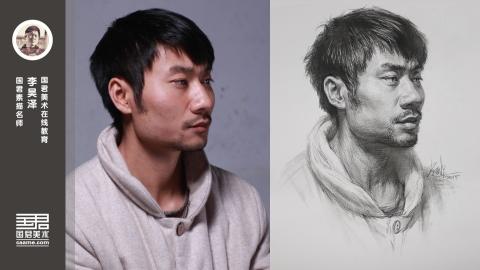 男青年2/3侧面素描头像_李昊泽