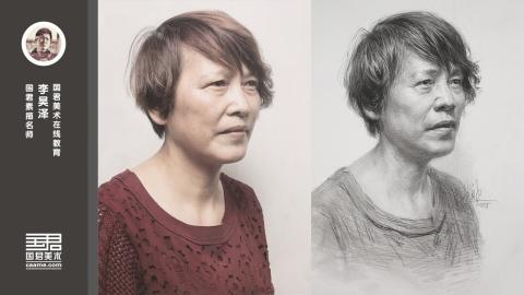 女中年半侧面素描头像_李昊泽
