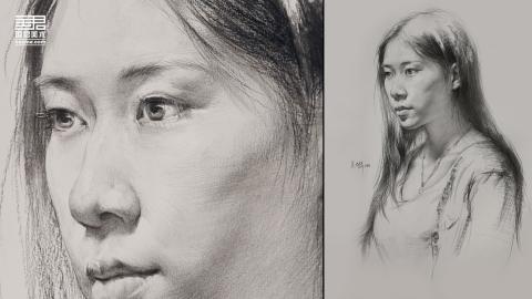 女青年2/3侧面素描头像_吴兴华