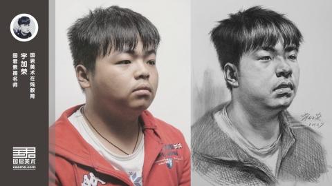 男青年素描头像1/2侧面_宇加荣