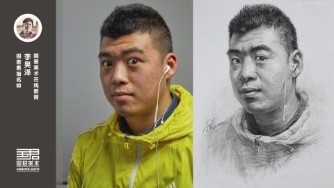男青年1/3侧面素描头像_李昊泽