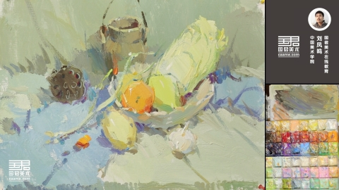 色彩静物_大白菜、陶罐、枯莲蓬、水果、蒜头、葱_刘凤鸣