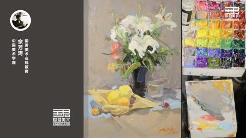 色彩静物_花卉、玻璃瓶、玻璃杯、水果_佘芳涛