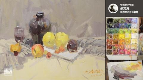 色彩静物_陶罐、水果、白盘子、红酒杯_佘芳涛