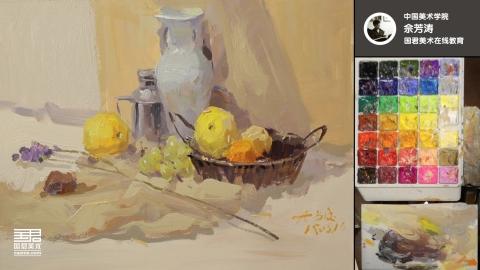 色彩静物_白瓷罐、篮子、水果、花枝_佘芳涛