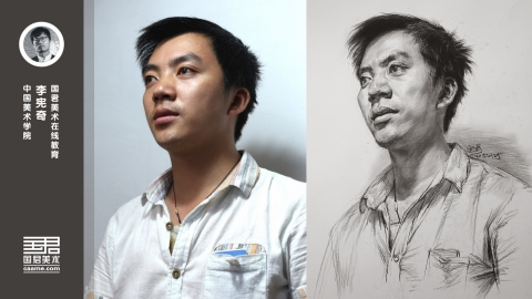 男青年半侧面素描头像_仰视_李宪奇