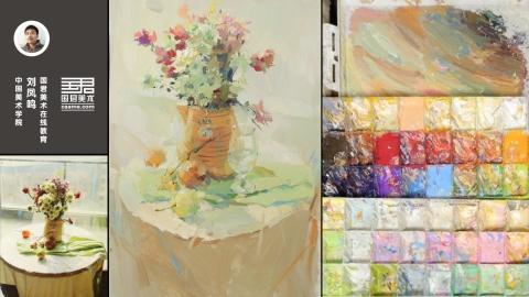 色彩静物_花卉、花瓶、圆桌、苹果、梨、桔子、龙眼_刘凤鸣