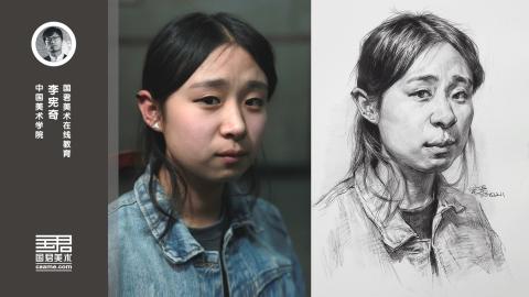 女青年半侧面素描头像_李宪奇