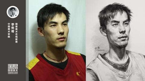 男青年三分之一侧面素描头像_李宪奇