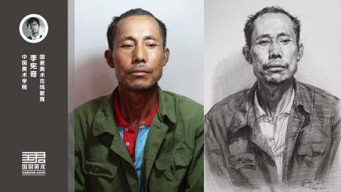 男中年正面素描头像_李宪奇