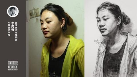 女青年2/3侧面俯视素描头像_李宪奇