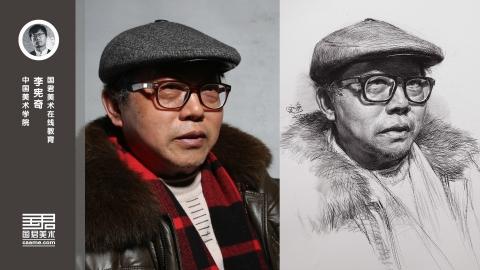 男老年半侧面素描头像_戴眼镜戴帽子_李宪奇