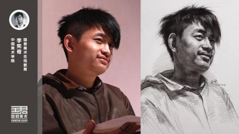 男青年三分之二侧面素描头像_李宪奇