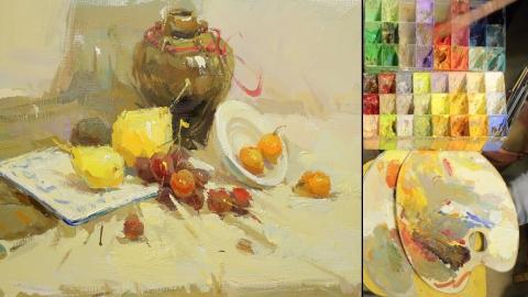 色彩静物_陶罐、梨、白盘子、葡萄、桔子_曾星