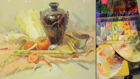 色彩静物_陶罐、大白菜、西红柿、不锈钢勺、不锈钢杯、葱_曾星