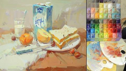 色彩静物_牛奶、面包、半个苹果、桔子、樱桃、水果刀、牛奶杯、白盘子_曾星