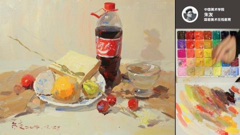 色彩静物_可乐瓶、面包片、梨、桔子、白盘子、葡萄、玻璃杯、花枝_朱友